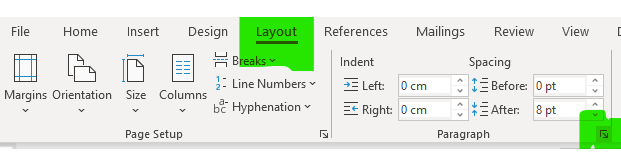 The first of two screenshots showing how to change to double spacing in Microsoft Word 2019