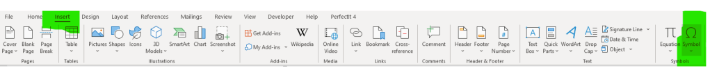 A screenshot showing how to insert a symbol on the Microsoft Word 2019 ribbon