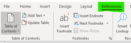 A screenshot showing how to create a Table of Contents in the Microsoft Word 2019 ribbon