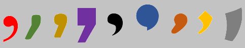An image of a series of commas in different colours and fonts